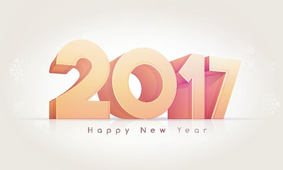 3D glossy text 2017 on Snowflakes decorated background for Happy New Year Celebration.