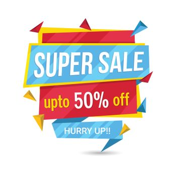Colorful Super Sale, Paper Tag or Banner with Discount Upto 50% Off, Vector illustration.