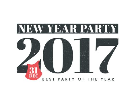New Year Party 2017 celebration poster, banner or flyer design. Creative vector illustration.