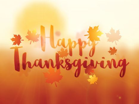 Creative glossy background with stylish text Happy Thanksgiving and maple leaves, Can be used as poster, banner or flyer design.