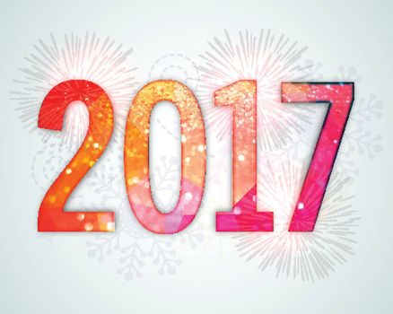 Creative sparkling text 2017 on fireworks background for Happy New Year celebration.