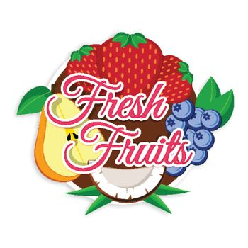 Fresh Fruits Stickers, Tags or Labels design, Illustration of Strawberry, Blueberries, Pear and Coconut Fruits, Vector design for Healthy Food concept.