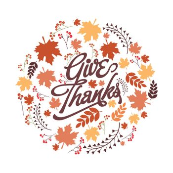 Creative background with stylish text Give Thanks and maple leaves, Elegant vector illustration for Happy Thanksgiving Day celebration.