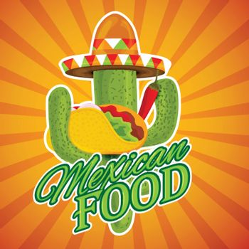 Mexican Food sticker design on shiny rays background.