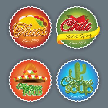 Set of four creative stickers, tags or labels design for Mexican Food.