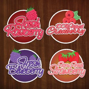 Creative Typographic Stickers of Fresh Raspberry, Cranberry, Blueberry and Strawberry, Set of Farm Fresh and Natural Fruits Labels on wooden background, Vector for Food and Drink concept.
