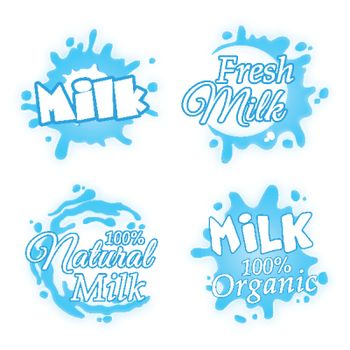 Fresh and Natural Milk Stickers set, Creative Typographic Labels design with splash or blot, Various  lettering collection, Vector illustration.