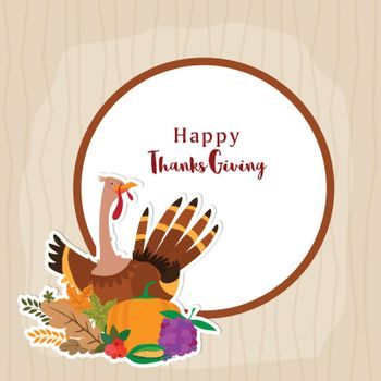 Greeting Card design with illustration of a turkey bird, vegetable and fruits for Happy Thanksgiving Day celebration.