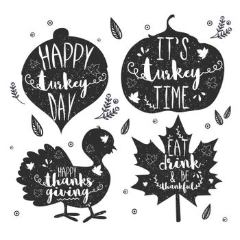 Happy Turkey Day or Thanksgiving Day typographic collection on white background.