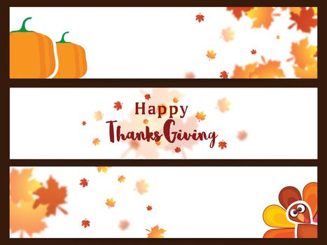 Creative website header or banner set decorated with maple leaves, pumpkins and turkey bird for Happy Thanksgiving Day celebration.