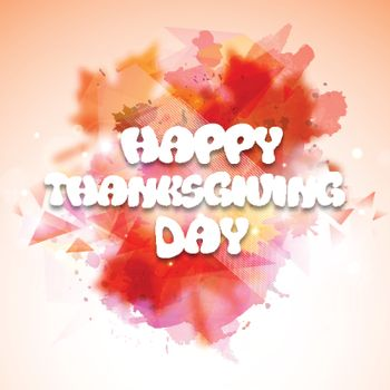 Greeting Card design with white text Happy Thanksgiving Day on abstract colorful background.