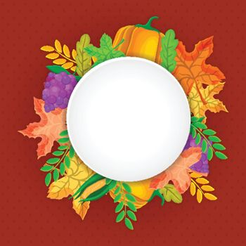 Happy Thanksgiving Day background decorated with maple leaves, fruits and vegetables.