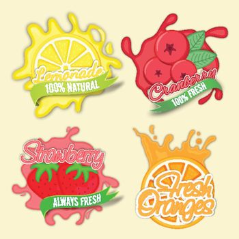 Creative Stickers of Lemonade, Cranberry, Strawberry and Orange, Set of Typographic Labels for Natural Fruits, Fresh Juices and Beverages, Food and Drink concept for Cafe, Bar, Restaurant and Menu.