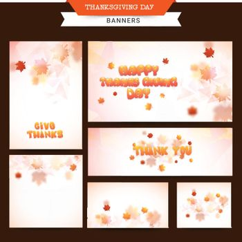 Social Media banners set decorated with maple leaves for Happy Thanksgiving Day celebration.