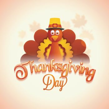 Creative illustration of Turkey Bird and Glossy Text Thanksgiving Day on maple leaves decorated background.