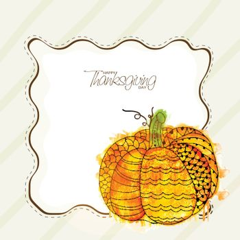 Greeting card design with creative pumpkin for Happy Thanksgiving Day celebration.
