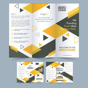 Professional Three Fold Brochure layout with front and back page view for your Business.