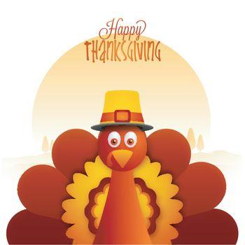 Creative illustration of a Turkey Bird for Happy Thanksgiving Day celebration.