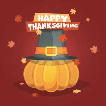 Illustration of a pumpkin with hat on maple leaves decorated background for Happy Thanksgiving Day celebration.