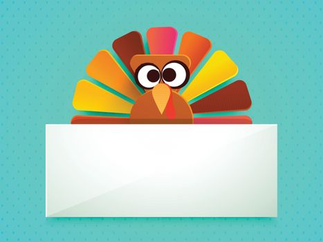 Colorful Turkey Bird with blank banner for your wishes, Vector illustration for Happy Thanksgiving Day celebration.