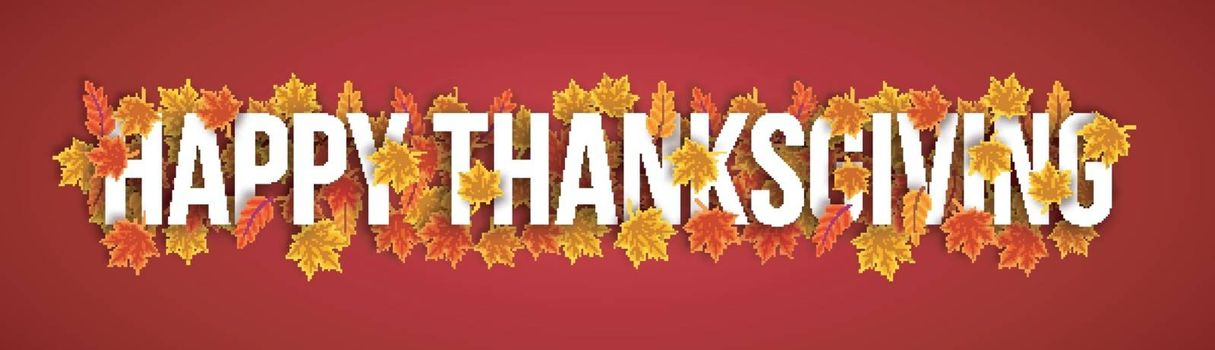 Creative banner design with white text Happy Thanksgiving on maple leaves decorated background.
