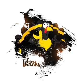 Abstract illustration of a turkey bird with brush strokes for Happy Thanksgiving Day celebration.