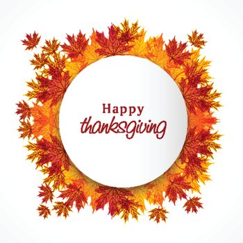 Happy Thanksgiving Day celebration background decorated with maple leaves. Can be used as greeting card or invitation card design.