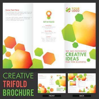Creative abstract Tri-Fold Brochure design with front and back page presentation for Business concept.