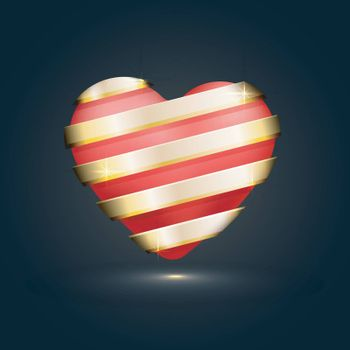 Glossy Heart with Golden Stripe for Happy Valentine's Day celebration.
