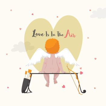 Love is in the Air, Illustration of a Cupid for Valentine's Day celebration.