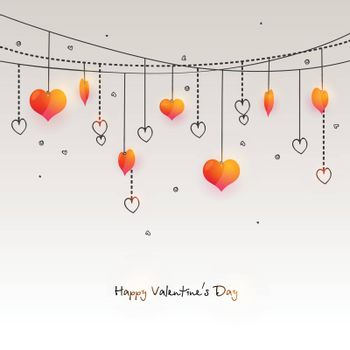 Hanging Hearts decorated greeting card for Happy Valentine's Day Celebration.