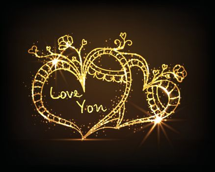 Golden glittering floral Hearts with Text Love You for Happy Valentine's Day Celebration.