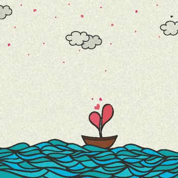 Vector illustration of a Boat with creative Heart in the sea for Happy Valentine's Day Celebration.