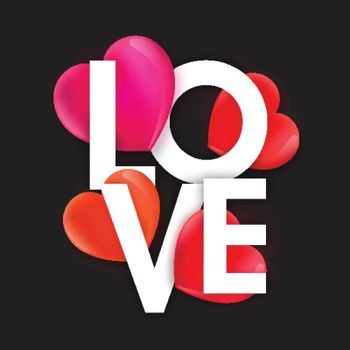 Stylish Text Love with colorful glossy creative Hearts for Happy Valentine's Day Celebration.
