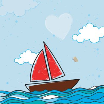 Creative Sailboat with Hearts in the sea for Happy Valentine's Day celebration.