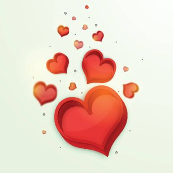3D creative Red Hearts on glossy background for Happy Valentine's Day Celebration.