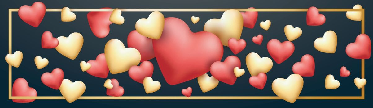 Glossy elegant Hearts decorated background or banner for Happy Valentine's Day Celebration.