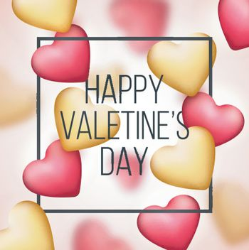 Glossy Hearts decorated background for Happy Valentine's Day Celebration.