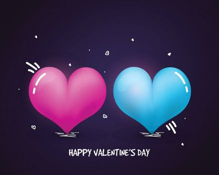 Beautiful Glossy Hearts for Happy Valentine's Day celebration.