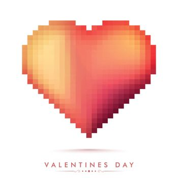 Creative glossy Pixel Heart for Happy Valentine's Day Celebration.