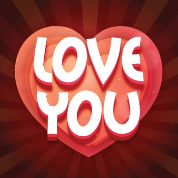 3D Text Love You on glossy Heart for Happy Valentine's Day Celebration.