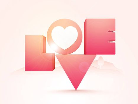 Creative Glossy 3D Text Love for Happy Valentine's Day celebration.
