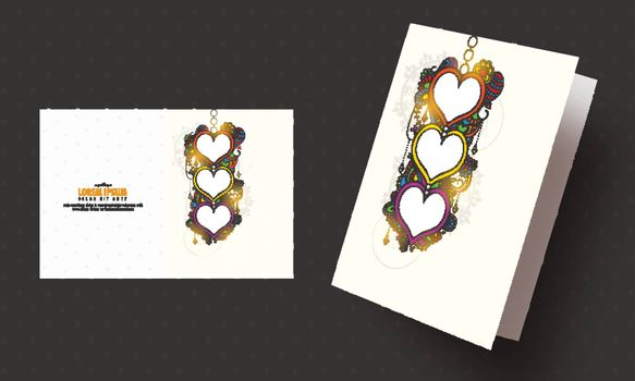 Greeting Card with hearts on colorful floral design decorated background for Valentine's Day celebration.