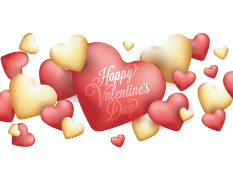 Glossy beautiful Hearts decorated background for Happy Valentine's Day Celebration.