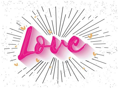 Stylish Pink Text Love on grunge background for Happy Valentine's Day Celebration.