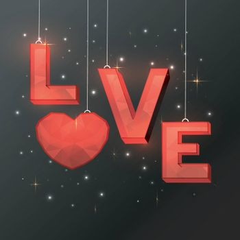3D Origami Red Text Love with Heart hanging on shiny background for Happy Valentine's Day celebration.