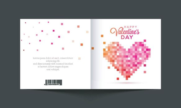 Greeting card design with creative Pixel Heart for Happy Valentine's Day Celebration.