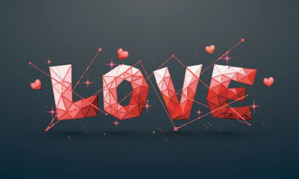 Creative Origami style Text Love with Hearts for Happy Valentine's Day Celebration.