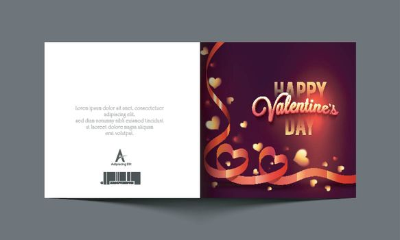 Elegant glossy greeting card with creative Hearts made by ribbons for Happy Valentine's Day Celebration.