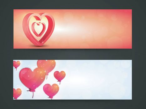 Glossy creative Hearts decorated, Website Header or Banner Set for Happy Valentine's Day celebration.